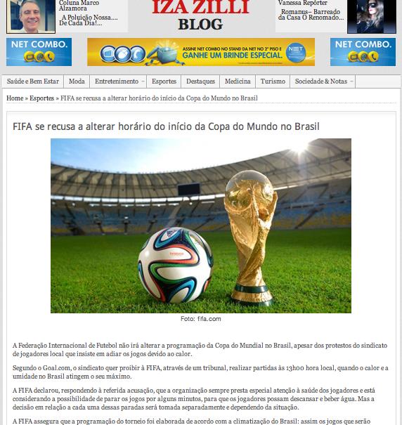 IZA ZILLA BLOG über die Weltmeisterschaft in Brasilien. ©screenshot